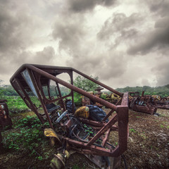 rusted tractor frame