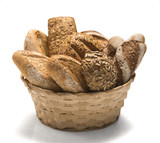 Korb voller Brot-Frühstück