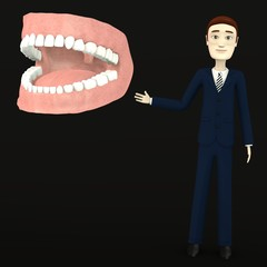 3d render of cartoon character with teeth