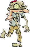 Cartoon zombie carrying a human arm in his mouth.