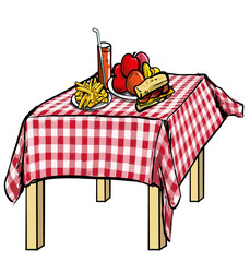 illustration of a picnic table with food on it.