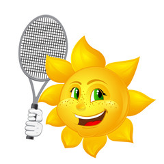 tennis player sun with racket