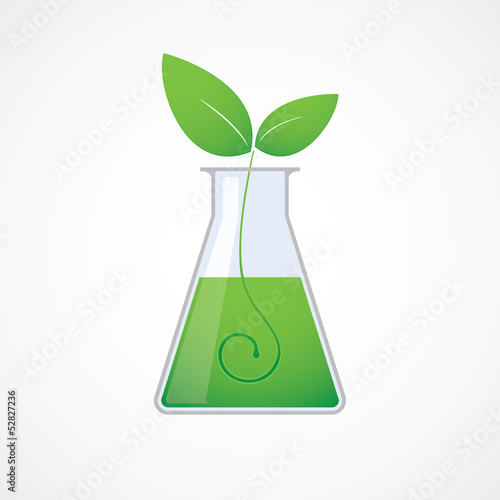 Chemical test tube green plant vector