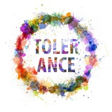 Tolerance concept, watercolor splashes as a sign poster