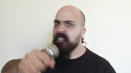angry hard rock long bearded singer