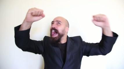 euphoric positive happy bearded man