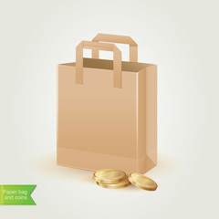 Shopping bag with coins isolated.Vector illustration.