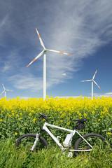 e-bike, pedelec, windrad, raps, öko, fahrrad