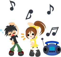 ラジオ体操をする少年と少女。