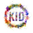 Kid concept, watercolor splashes as a sign