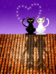 Cats in love on the roof