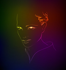 Hand-drawn fashion model from a neon. A light girl's face.