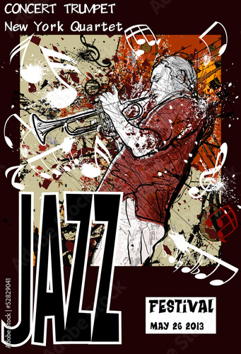 Jazz poster with trumpeter © Isaxar