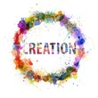 Creation concept, watercolor splashes as a sign
