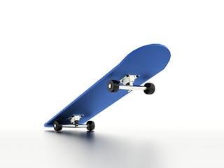 Blue skateboard with shadow