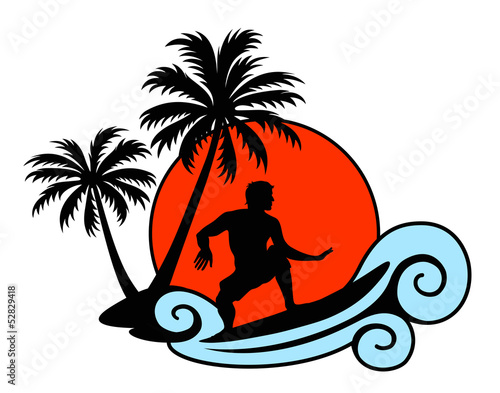 Surfer on a wave with palms and sunset