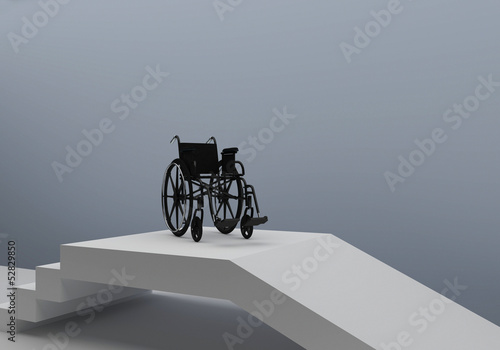 wheelchair in front of stairs or access ramp