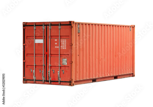 Bright red metal freight shipping container isolated on white - 52829893