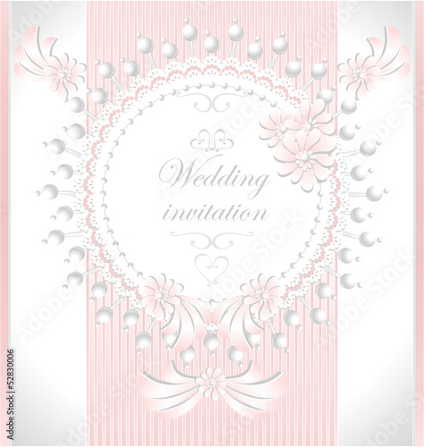 Wedding invitation with pearls flowers in pink color