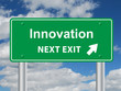 INNOVATION NEXT EXIT Signpost (ideas projects solutions quality)