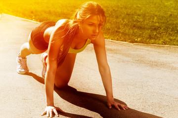 Beautiful young woman ready to run