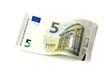 Leinwanddruck Bild - Neuer fünf Euro Schein isoliert auf weiß