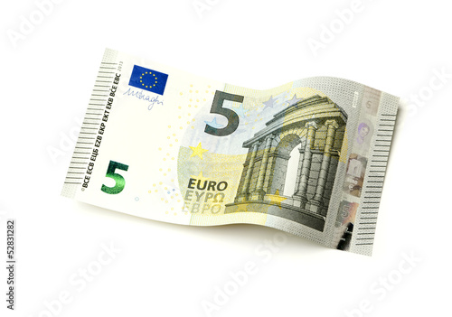 Leinwanddruck Bild Neuer fünf Euro Schein isoliert auf weiß