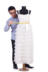 Funny male tailor on white