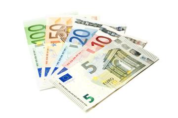 Euroscheine aufgefächert, isoliert