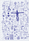 Medical Icons on paper background