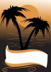 decorazione tramonto palme