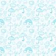 Blue weather symbols seamless pattern