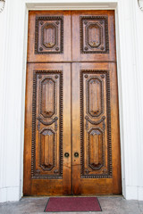 Old Ornate Brown Door