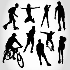 Riding people silhouettes