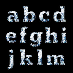 Shiny diamond alphabet letters, lower case version - eps10