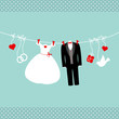 Wedding Symbols Hanging Retro Background Dots