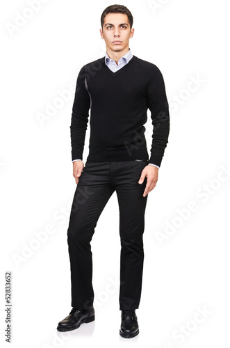 Man in fashion look isolated on white