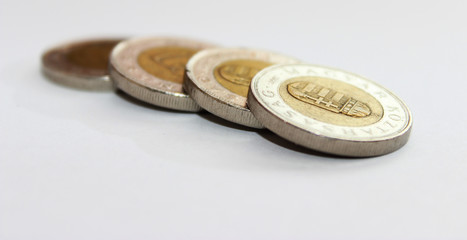 Coins on white