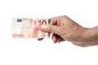 Hand hält Zehn Euro Schein, isoliert
