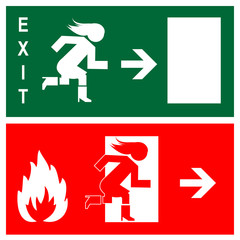 Green emergency exit sign, icon and symbol - fire