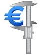 Caliper measures size of euro symbol. Vector finance concept
