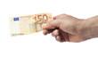 Hand hält Fünfzig Euro Schein, isoliert