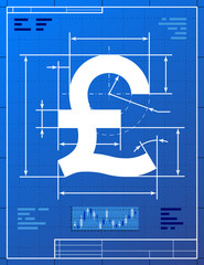 Pound sterling sign like blueprint drawing. Vector money concept
