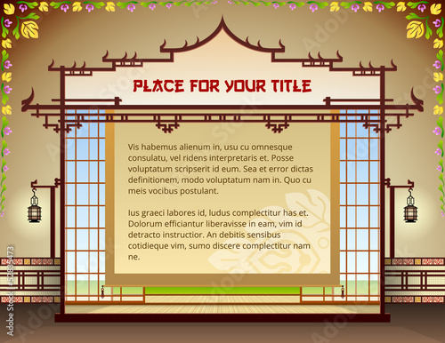 Template design with traditional thai elements. Vector layout