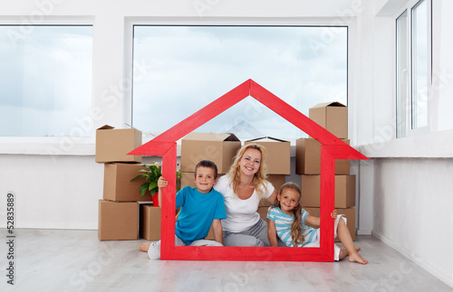New home concept with woman and kids