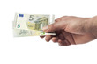 Hand hält zwei neue fünf Euro Scheine