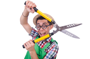 Funny man with shears on white