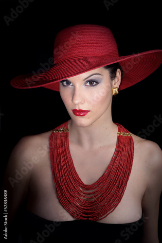 beauty woman with red hat
