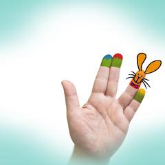 Hand - Osterhase - bemalt