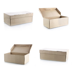 Set of brown box on white background